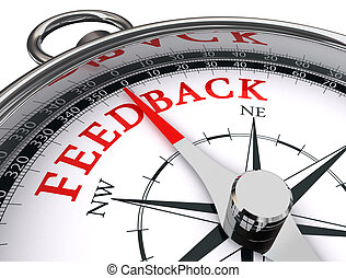 feedback conceptual compass - feedback red word on...