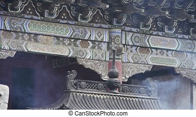 Chinese ancient building,carved-beams &...