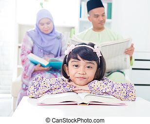 Asiático, menina, leitura
