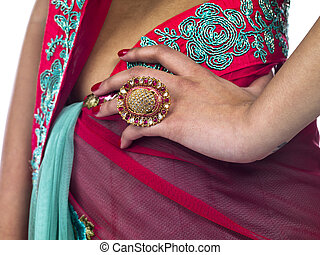 mid section of a traditional indian woman - Cropped close-up...