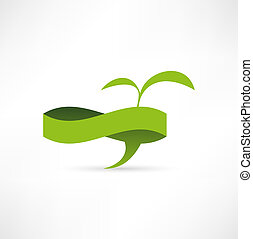 Green eco banner. Bubble for speech