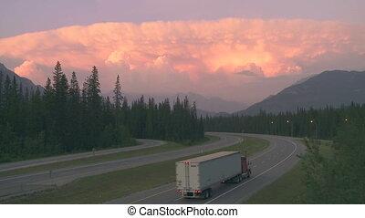 camión, carretera, Tormenta, nube