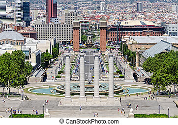 Montjuic columns and fountain on Plaza de Espana in Barcelona