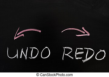 Undo and redo sign drawn on the chalkboard