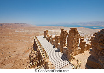 Masada - View to the Dead Sea from the Ruins of the Fortress...