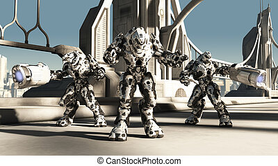 Alien Battle Droids - Futuristic science fiction battle...