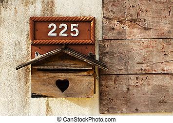 Um, madeira, correio, caixa