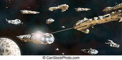 Battle Fleet in Action - Space battle between fleets of...