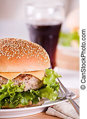 Tasty Burger - Close up photograph of a tasty burger for...