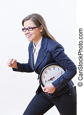 Deadline Project - A woman running and holding a clock