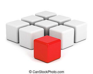 red box ouf of the crowd concept