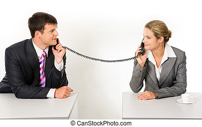 Negotiations - Portrait of business partners speaking on the...