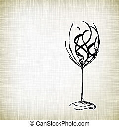 Old style vintage wine card - Stylized wine glass on vector...