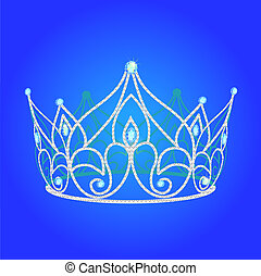 tiara women wedding with blue jewels - illustration tiara...