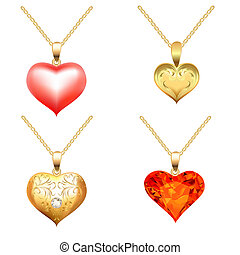 set of pendants with precious stones in the form of heart -...