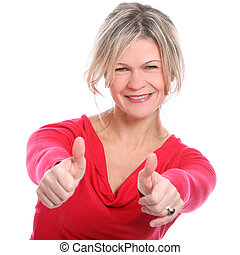 Mid aged beautiful smiling woman showing thumbs up over a...