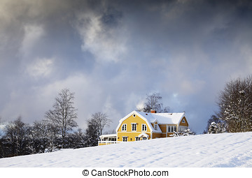 old farm in winter landscape - old yellow farm, cottage in a...