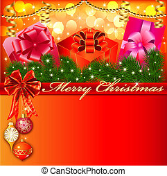 illustration of a Christmas background with bow and gifts with Christmas tree branches and balls