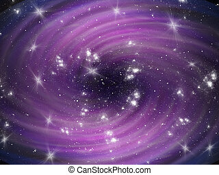 Violet cosmic whirl background with stars - Abstract blue...