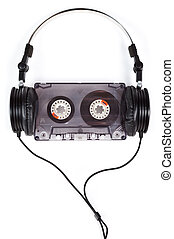 Headphones on Compact Cassette - Compact headphones with...