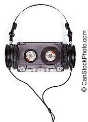 auriculares, compacto, cassette