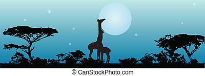 Night in Savannah Giraffes on Front of the Moon. Vector...