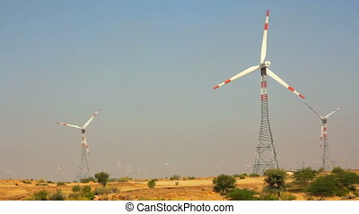 wind farm - turning windmills