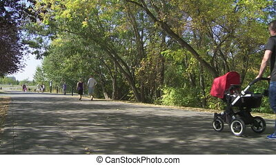 Couple with baby carriage walking on a city pathway