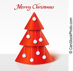 Red christmas tree with balls