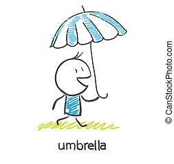 A man under an umbrella