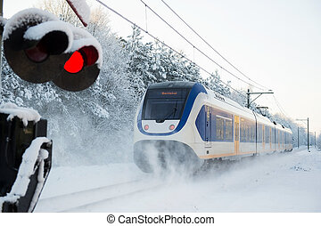 Dutch train in snow