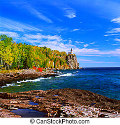 Split Rock Lighthouse State Park - Panoramic autumn view of...