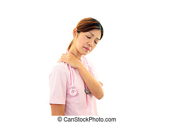 Doctor with shoulder neck pain