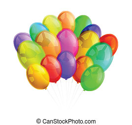 Multicolor balloons on white background Vector illustration
