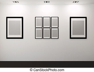 Gallery Interior with empty frames on wall