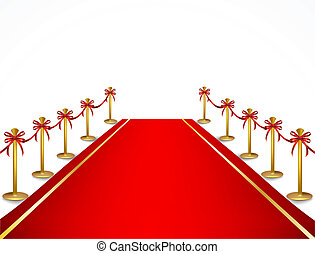 Red carpet and velvet rope. Vector - A red carpet and velvet...