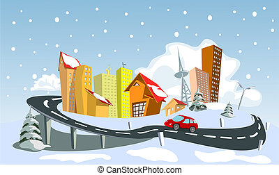 Colorful Winter abstract vector city. Vector art