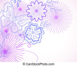 Hand-drawn flowers and butterfly Vector illustration
