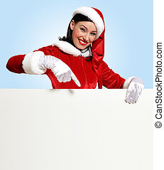 santa girl with a blank banner - Portrait of a santa girl...