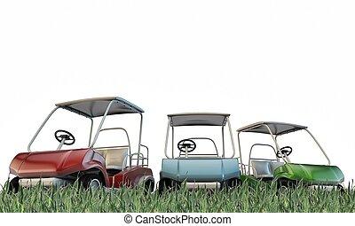 golf carts on green glass below a blue sky