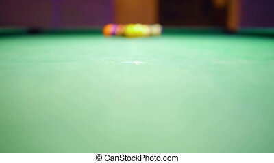 HD - Billiard ball hit the camera