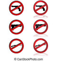 No guns allowed - Icons showing different gun shapes and the...