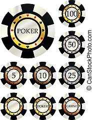 fiches poker - illustration set of chips in variant value