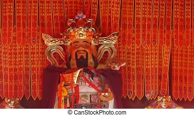 Chinese God sculpture of wealth,Red