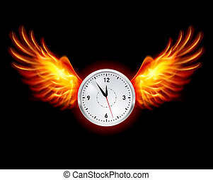 Clock with fire wings. Illustration on black background