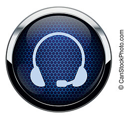 Blue honeycomb headset icon.