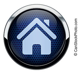 Blue honeycomb home icon.