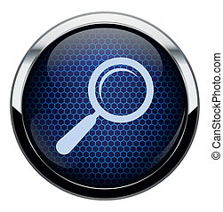 Blue honeycomb magnifying glass icon