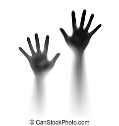 Two open hands in the mist. Illustration of designer