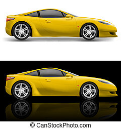 Yellow Sport Car icon Illustration on white and black